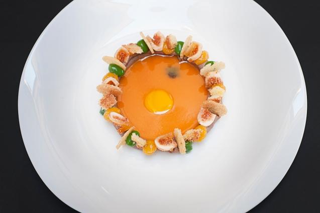 Fegato al balsamico, arancia, fichi, albicocca, basilico e grappa